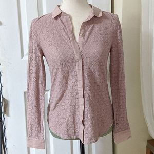 LOFT Dusty pink lace button down size small